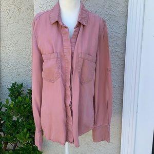Bella Dahl Pink Button Up Blouse Women's  Size M